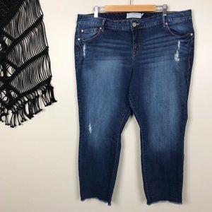 Torrid Raw Frayed Hem Distressed Skinny Jeans